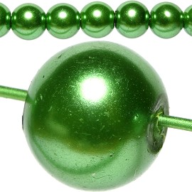 100pc Pearl Bead Ball Spacer 8mm Green Dark JF807