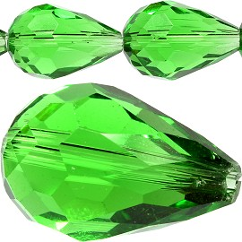 30pc Crystal Cut Tear Spacer 18x12mm Green JF809