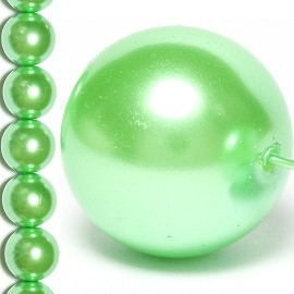 35pc 14mm Faux Pearl Spacer Lime Green JF837