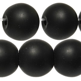 50pcs 8mm Smooth Round Bead Spacer Matte Black JF889