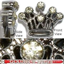 "1pc 7/16"" Opening-Hole Rhinestone Silver Crown JF891"