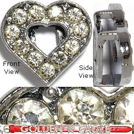 "Rhinestone Spacer 7/16"" Opening-Hole Heart Silver JF893"