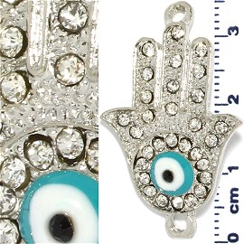 Rhinestone Spacer Hand or Bell Eye 36x22x2mm Silver JF905