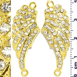 2pc Rhinestone Spacer Angel Wings 41x16x3mm Gold Yellow JF912