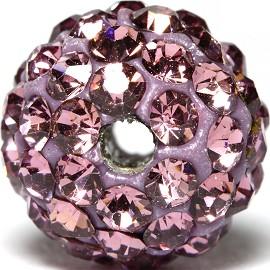 4pc 10mm Rhinestone Bead Spacer Pink Lavender w/1.5mm Hole JF932