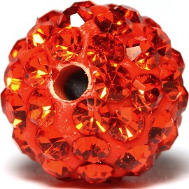 4pcs 10mm Rhinestone Bead Spacer Orange w/1.5mm Hole JF935