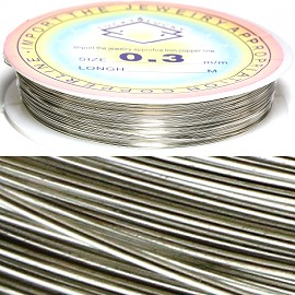 Metal String 0.3mm Thick Spool Silver JF946
