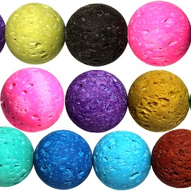 30pcs 12mm Lava Beads Spacers Porous Matte Mix Colors JF988