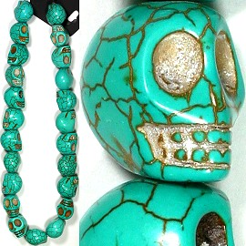 23pc 18x16mm Earth Stone Skull Spacer Turquoise JM-01