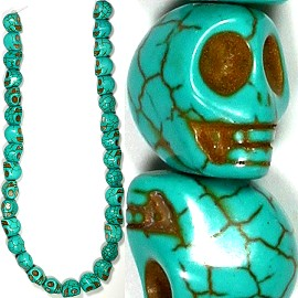 33pc 12x11mm Earth Stone Skull Spacer Turquoise JM-05