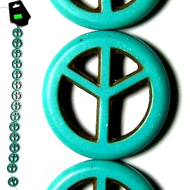15pc Earth Stone Peace Sign Spacer Turquoise JM-77