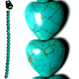 "36pc 7/8"" Earth Stone Heart Spacer Turquoise JM-92"