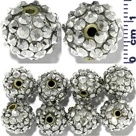 Disco Rhinestone Ball 14mm 10pcs Silver JP1020