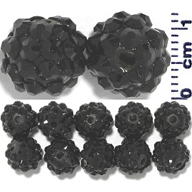 Disco Rhinestone Ball 12mm Black 12pcs JP1024