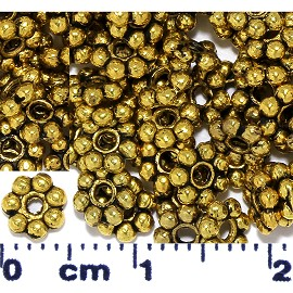 495pcs Approximately Round 7Ball Spacer 5x1mm Gold JP084