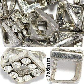 10pc Bail Square Rhinestone Silver JP153