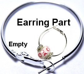 "3Pair Earring Hoop Bead Charm Holder 1 3/8"" Silver JP162"