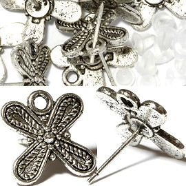 10pc Earring Cross Rubber Backing & Stud Part Silver JP170