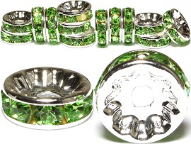 15pc 10mm Wheel Rhinestone Spacer Green JP204