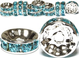 15pc 10mm Wheel Rhinestone Spacer Turquoise JP205