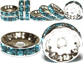 10pc 12 mm Rondelles Rhinestone Spacer Turquoise JP216