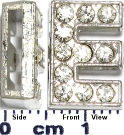 "Rhinestone Spacer 7/16"" Opening-Hole Letter - E - Silver JP225"