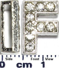 "Rhinestone Spacer 7/16"" Opening-Hole Letter - F - Silver JP226"