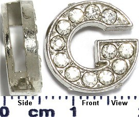 "Rhinestone Spacer 7/16"" Opening-Hole Letter - G - Silver JP227"