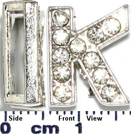 "Rhinestone Spacer 7/16"" Opening-Hole Letter - K - Silver JP230"