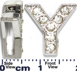 "Rhinestone Spacer 7/16"" Opening-Hole Letter - Y - Silver JP243"