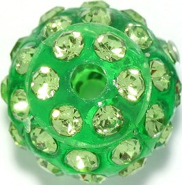 4pcs 12mm Rhinestone Bead 2mm Hole Green JP246