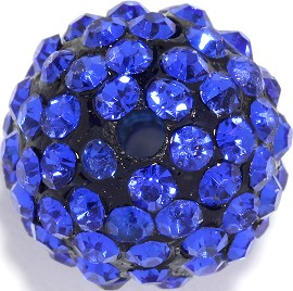4pcs 13mm Rhinestone Bead Blue 2mm Hole JP298