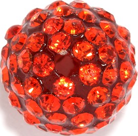 4pcs 13mm Rhinestone Bead Orange 2mm Hole JP299