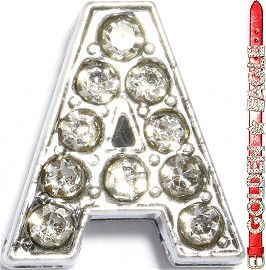 "Rhinestone Spacer 7/16"" Opening-Hole Letter - A - Silver JP301"