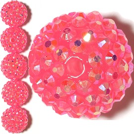 6pc 20mm Shamballa Bead 1mm Hole Magneta Aura JP368