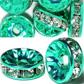 14pc 10mm Wheel Rhinestone Spacer Green Clear JP397