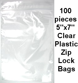 "5""x7"" Clear Plastic zip Lock 100pcs a Bag JPB-08"