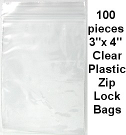 "3""x4""Clear Plastic Zip Lock Bags 100pc JPB-09"