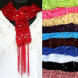 "12pc 62x18"" Scarf Thin Line Mix Color KZ001"