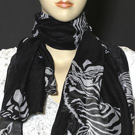 "1pc 70x35"" Scarf Line Thin Black Zebra KZ137"