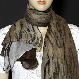 "1pc 70x35"" Scarf Line Thin Brown White Camouflage KZ149"