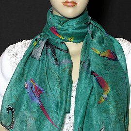 "1pc 70x35"" Scarf Line Thin Teal Bird KZ157"
