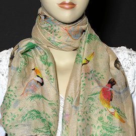 "1pc 70x35"" Scarf Line Thin Light Tan Cheetah KZ158"