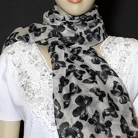 "1pc 70x35"" Scarf Line Thin Light Tan Black Butterfly KZ162"