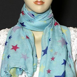 "1pc 70x35"" Scarf Line Thin Sky Blue Stars KZ165"