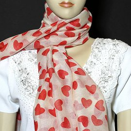 "1pc 70x35"" Scarf Line Thin White Red Hearts KZ166"