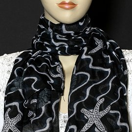 "1pc 70x35"" Scarf Line Thin Black Sea Shells KZ167"