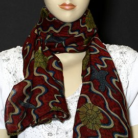 "1pc 70x35"" Scarf Line Thin Red Sea Shells KZ170"