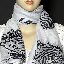 "1pc 70x35"" Scarf Line Thin White Zebra KZ171"