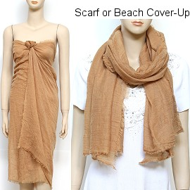 "1pc 68x37"" Scarf Sarong Beach Cover Dress Brown KZ252"